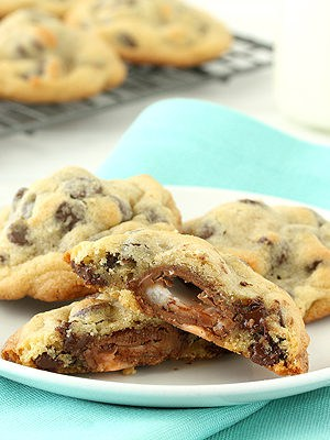 Creme Egg Stuffed Chocolate Chip Cookies