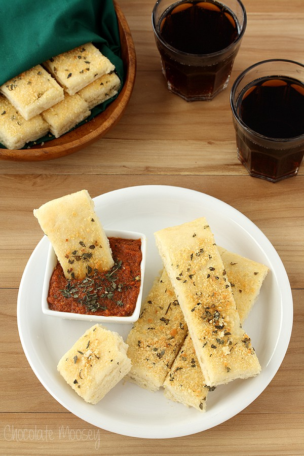 Soft Garlic Parmesan Breadsticks (Pizza Hut Style) with Pepperoni Dipping Sauce