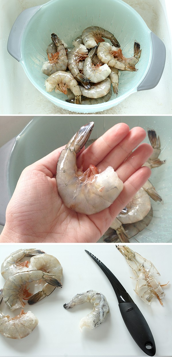Peeling shrimp