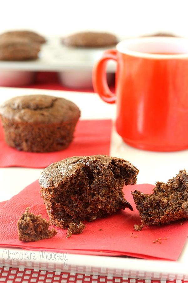 Chocolate-Chocolate Chip Cherry Muffins | Chocolate Moosey