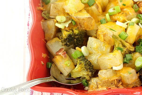 Loaded Baked Potato Casserole with bacon, broccoli, cheese, and scallions