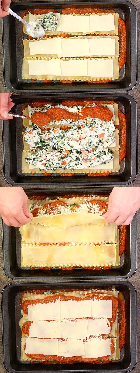 Prepping Spinach, Carrot, and Mushroom Lasagna