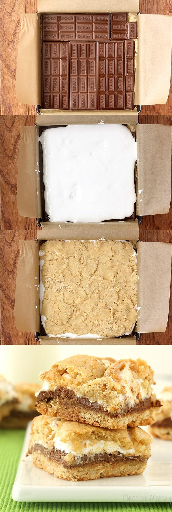 Assembling S'mores Cookie Crumb Bars