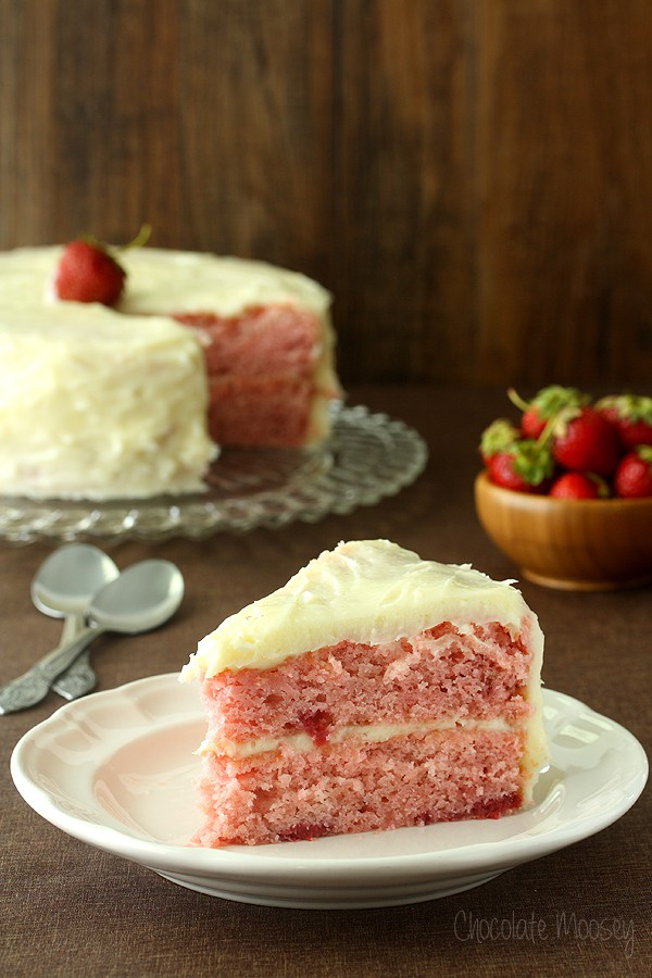 Strawberry Layer Cake with Cream Cheese Frosting with no cake mix and no strawberry jello