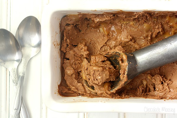 Chocolate Caramel Cheesecake Ice Cream for Cheesecake Day