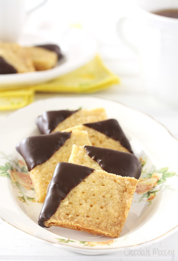Melt-in-your-mouth Chocolate-Dipped Orange Shortbread Cookies served ...