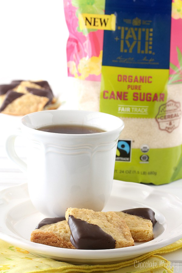 Chocolate-Dipped Orange Shortbread Cookies featuring Tate+Lyle Sugars