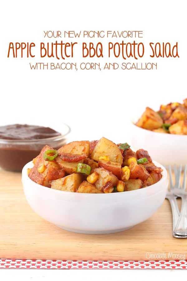 Apple Butter BBQ Potato Salad with bacon, corn, and scallion #AppleButterSpin