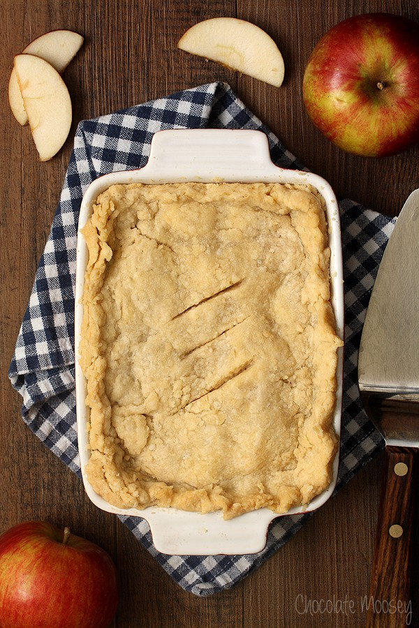 double-crusted apple pie made in a 5×7 pan rather than a pie plate ...