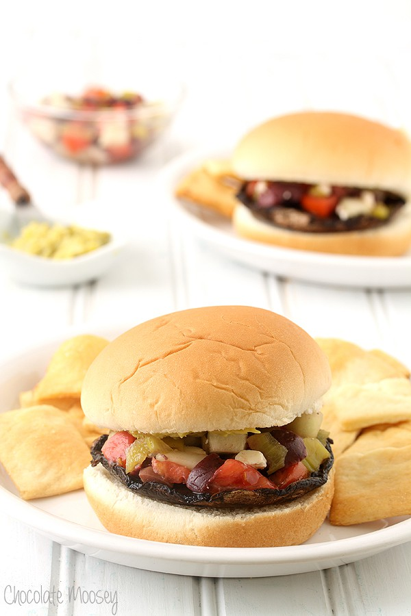 Greek Portobello Mushroom Burgers with Greek salsa
