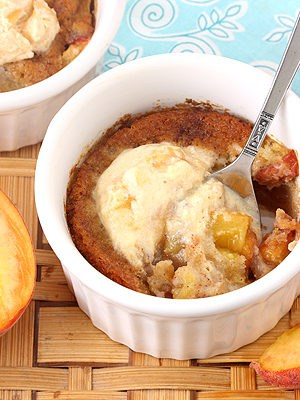 Peach Cobbler For Two with fresh peaches