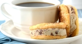 Tiramisu Ice Cream Sandwich Cookies made with homemade ladyfinger cookies and tiramisu gelato