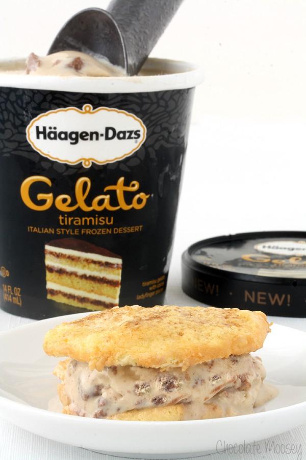 Tiramisu Ice Cream Sandwich Cookies made with homemade ladyfinger cookies and tiramisu gelato