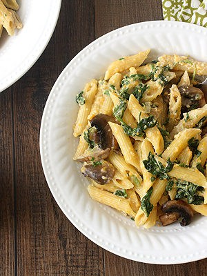 Butternut Squash, Spinach, and Mushroom Penne Alfredo