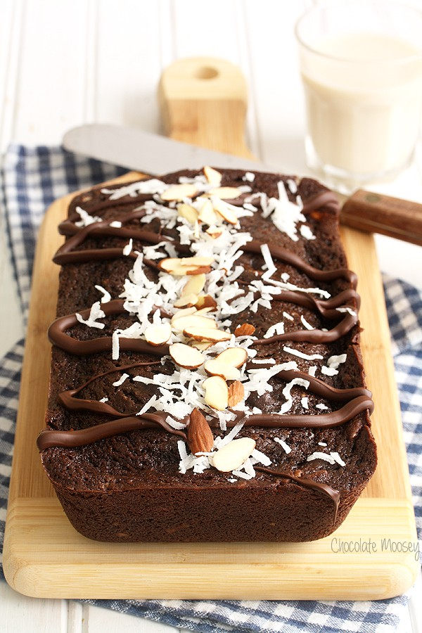 Chocolate Almond Joy Bread is a chocolate quick bread with almonds and ...