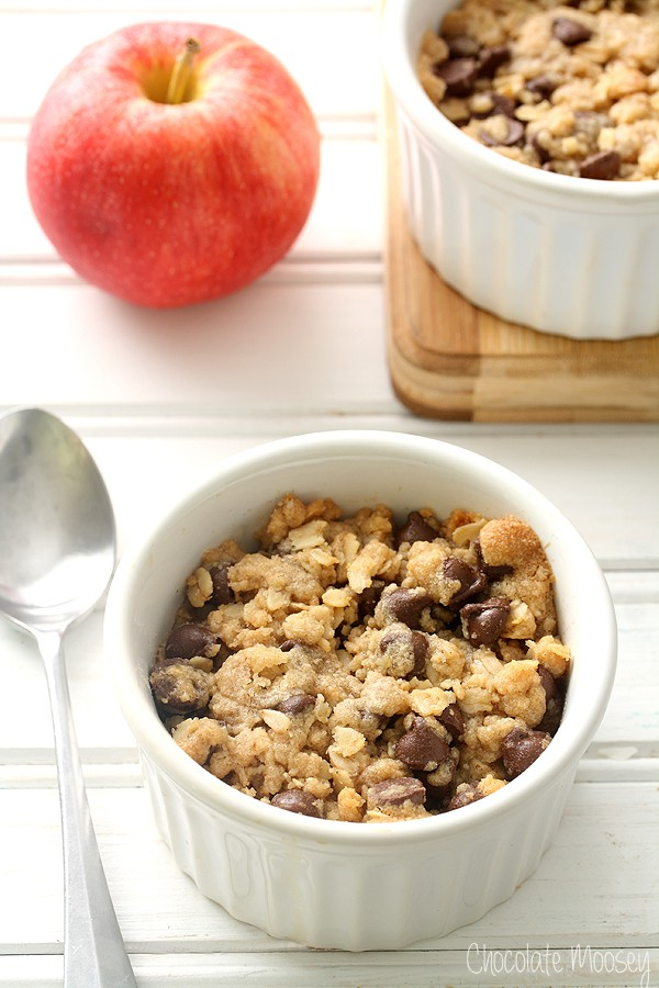 Chocolate Chip Cookie Apple Crumble For Two