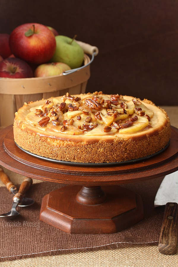 Caramel Apple Pecan Cheesecake is a caramel cheesecake topped with ...