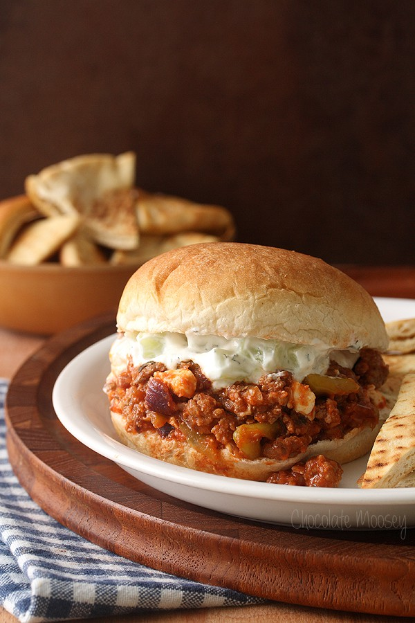 Greek Sloppy Joes made with American ground lamb and topped with homemade tzatziki sauce