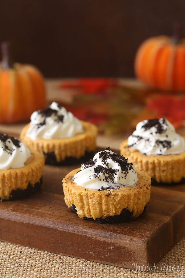 Mini Pumpkin Oreo Cheesecakes