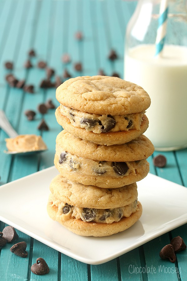 Peanut Butter Cookie Dough Sandwich Cookies are soft peanut butter cookies made from scratch then filled with homemade peanut butter chocolate chip cookie dough.
