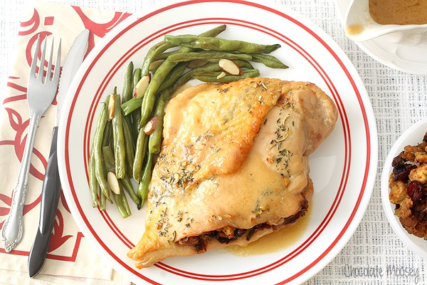 Caramelized Onion and Cranberry Stuffed Turkey Breasts with turkey pan gravy