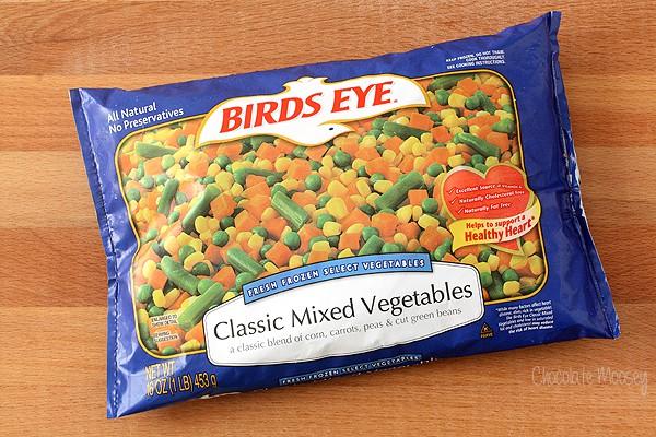 Frozen vegetables for chicken pot pie pasta