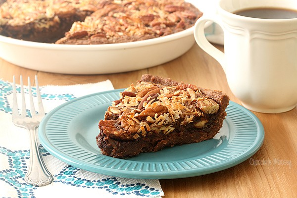 German Chocolate Pecan Pie with coconut, pecans, and chocolate