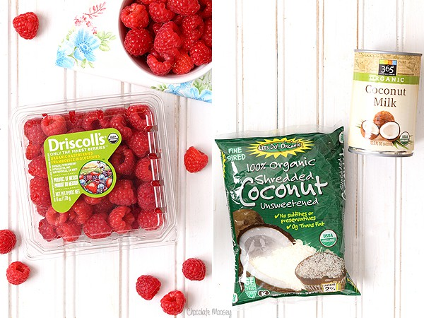 Making Raspberry Coconut Mini Pies with coconut milk and shredded coconut