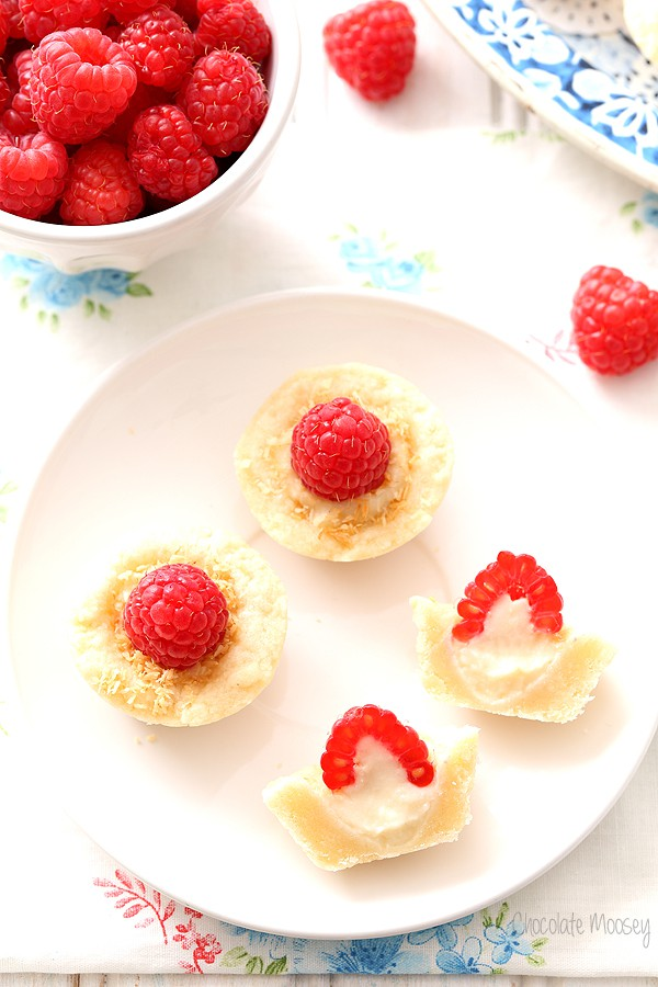 Raspberry Coconut Mini Pies filled with homemade coconut pudding