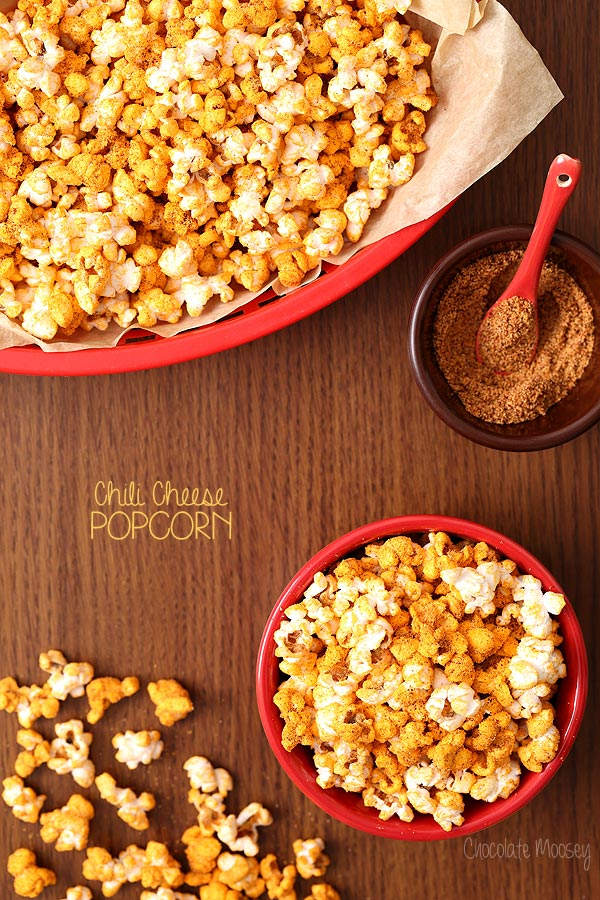 Chili Cheese Popcorn that tastes like chili cheese fries but healthier