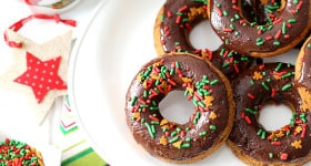 Chocolate Gingerbread Baked Doughnuts for Christmas holiday baking