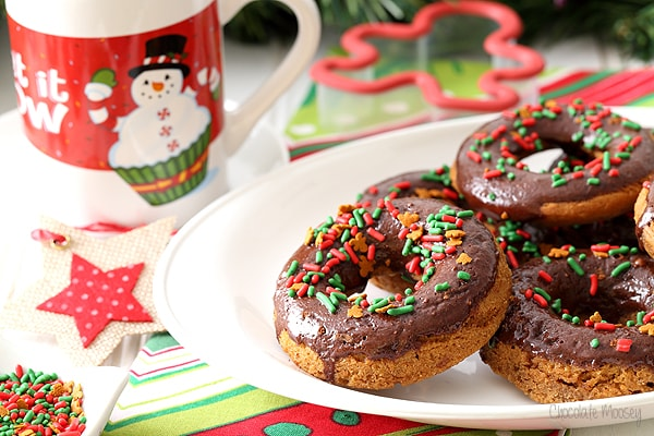 Chocolate Gingerbread Baked Doughnuts baked in a doughnut pan