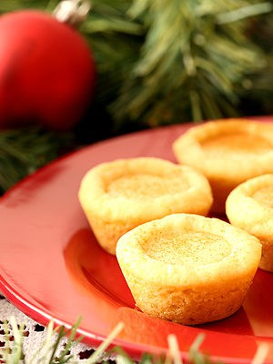 Eggnog Filled Sugar Cookie Cups