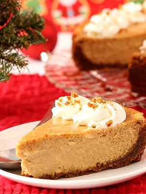 Slice of gingerbread cheesecake