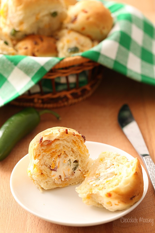 Jalapeño Popper Stuffed Dinner Rolls from scratch with bacon, jalapeño, and cheese
