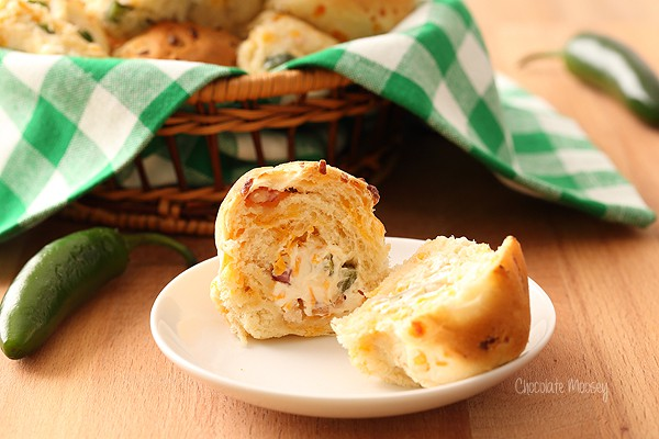 Jalapeño Popper Stuffed Dinner Rolls from scratch made easy with rapid rise yeast