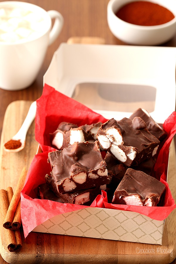 Mexican Hot Chocolate Fudge made with sweetened condensed milk