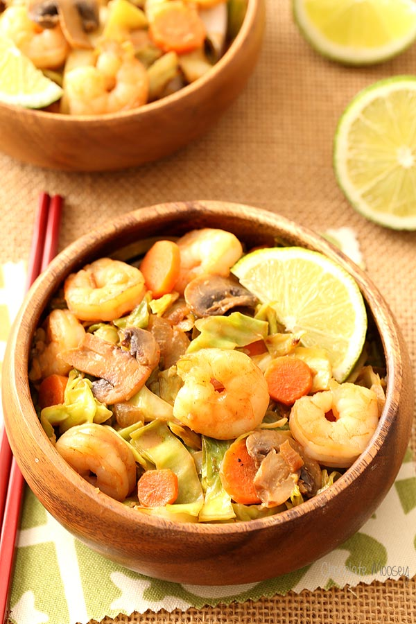 "Thai Sweet Chili Shrimp with Cabbage ""Noodles"" that replaces carbs with vegetables"