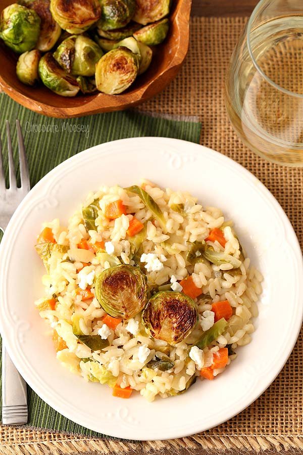 Brussels Sprouts and Goat Cheese Risotto is a hearty vegetarian Italian dish to serve for dinner