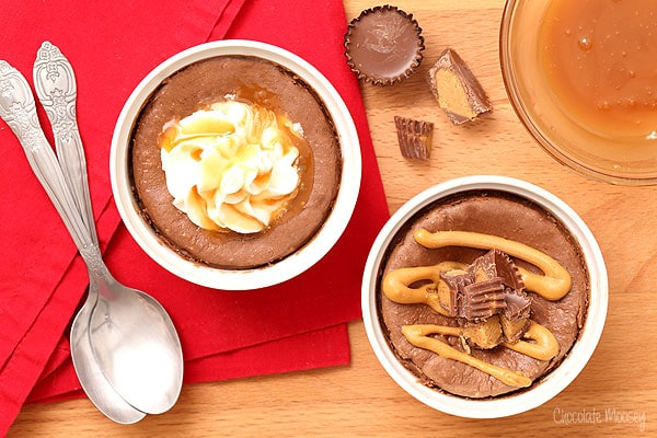 Mini Chocolate Cheesecake For Two with caramel and peanut butter cup
