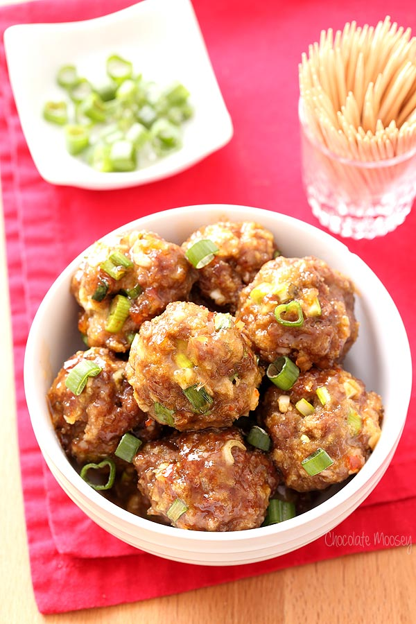 Sweet Chili Baked Meatballs to serve as a party appetizer or as dinner over rice