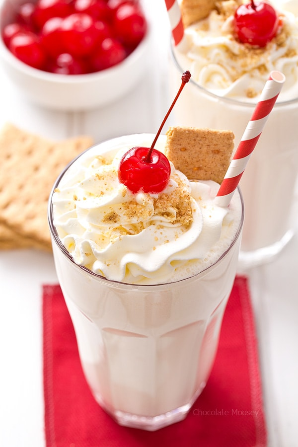 Whip up these easy to make Cheesecake Milkshakes with only 4 ingredients (plus garnishes)