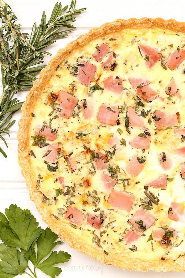 Ham and Herb Quiche with rosemary, thyme, and parsley