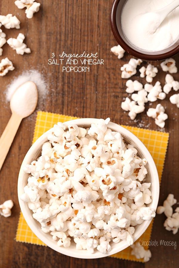 Salt and Vinegar Popcorn using only 3 ingredients