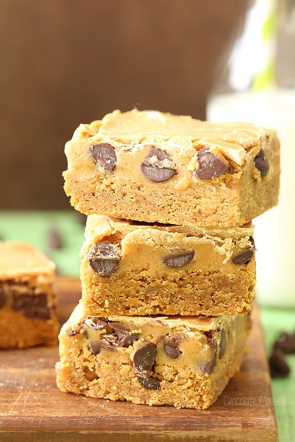 Triple Peanut Butter Cookie Dough Blondies