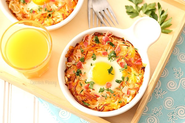 Baked Eggs With Bacon, Cheese, And Herbs Recipes — Dishmaps