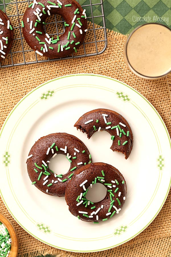 Chocolate Stout Baked Doughnuts made with Guinness beer
