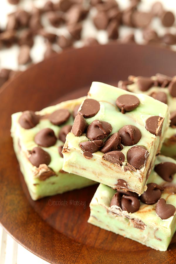 5 ingredient Mint Chocolate Chip Fudge made with sweetened condensed milk