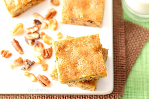 Banana Nut Blondies are a great way to use up overripe bananas