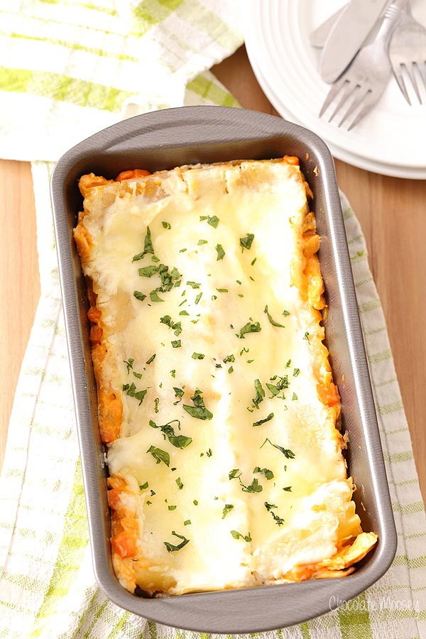 Buffalo Chicken Lasagna For Two made in a loaf pan